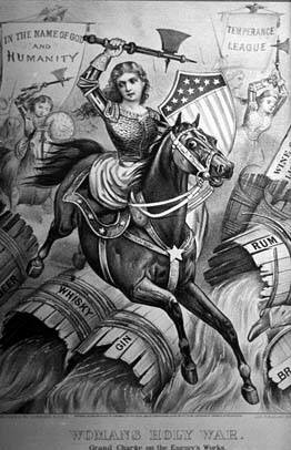 Temperance,  Woman on Horse Destroying Alcohol barrels.